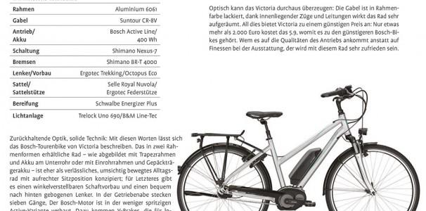 Zurückhaltende Optik, solide Technik - das VICTORIA eTrekking 5.9 punktet in Fahrrad News 01/2015
